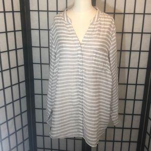 Linen striped button down top SZ 1X